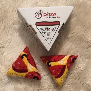 Pizza socks in a pizza slice box